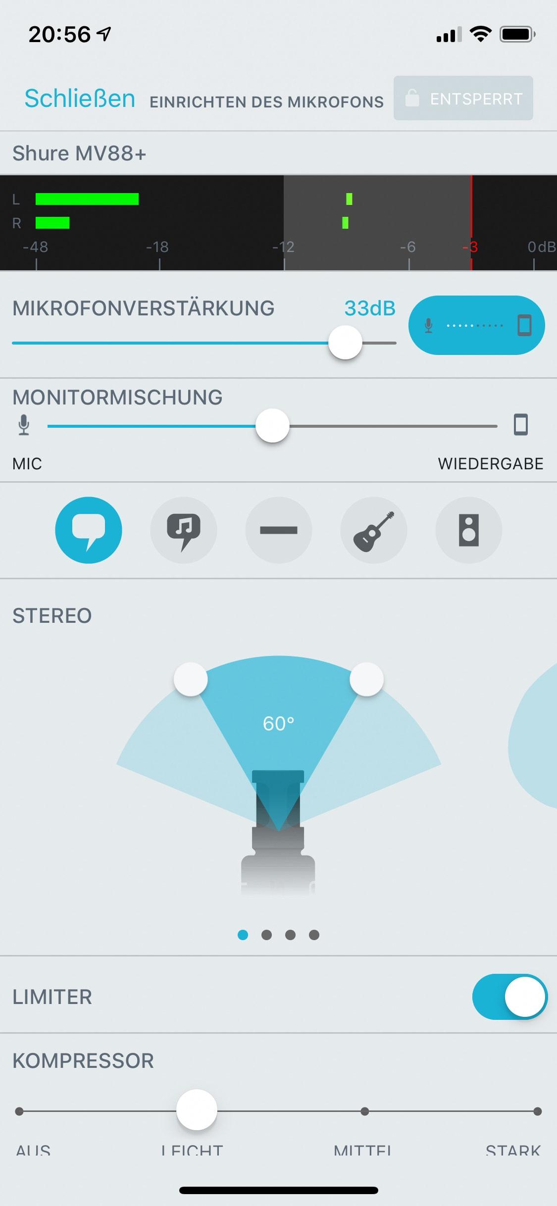 Shure MOTIV-App Einstellung Stereo 60°